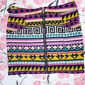 H&M Geometric Vibrant Tribal Print Mini Skirt